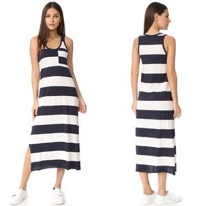 ATM Striped Jersey Tank Midi Dress Blue White